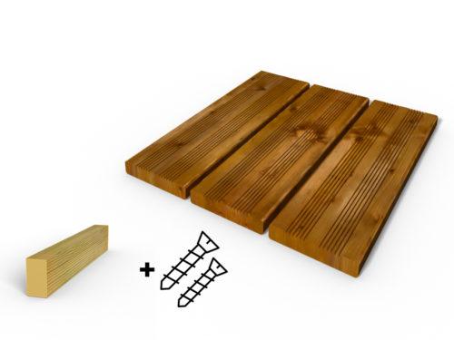 Terrasse bois autos lave brun avec les vis et les lambourdes